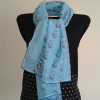 Blue Cotton Scarf/Handpainting Scarf/Scarf-Shawl/Elegant Scarf/Lightweight Scarf/100% Cotton Scarf