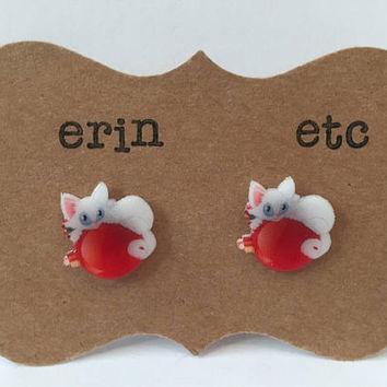Handmade Plastic Fandom Earrings - Christmas Cats