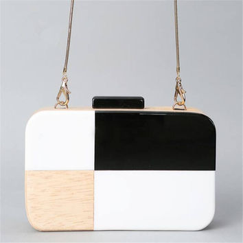 Acrylic Wooden Clutch Bag Women Evening Bags Party Purses Wedding Handbag