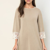 Lace Bell Sleeve Sweater Dress