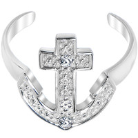 925 Sterling Silver CZ Anchor Toe Ring | Body Candy Body Jewelry