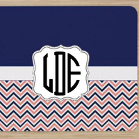 Personalized Monogram Navy Blue and Coral Chevron Square Mouse Pad