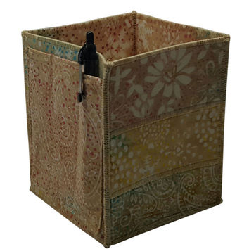 Table Top Organizer Pencil Box in Beige Batik