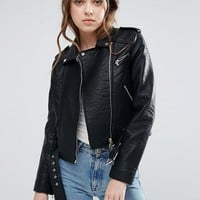 French Connection Generation Belted PU Biker Jacket at asos.com