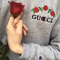GUCCI Champion Flower Rose Embroidery Hooded Pullover Tops Sweater Sweatshirts