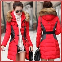 2014 New Brand Fashion Clothing Fur Hooded Zipper Long Style Women Warm Down Coat 4 Colors Winter parkas coat Size M-XXL/1503484KKNN231 = 1932325380