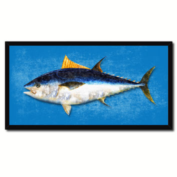Bluefin Tuna Fish Blue Canvas Print Picture Frame Gifts Home Decor Nautical Wall Art