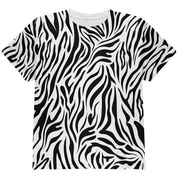 ONETOW Zebra Pattern Costume White All Over Youth T Shirt