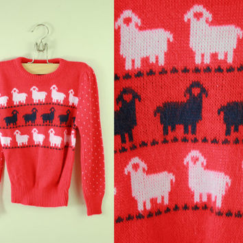 Vintage - 70s/80s - Red - Novelty - White & Black Sheep Knit - Kids- Childrens - Sweater - Girls - 6/7 years