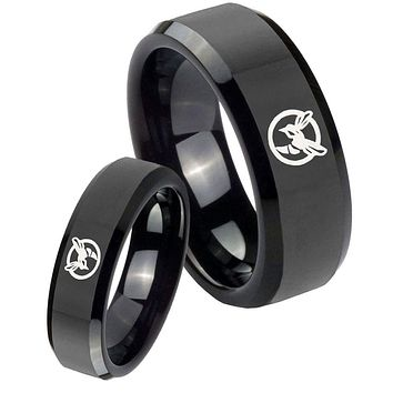 His Her's Honey Bee Black Beveled Edges Tungsten Carbide Wedding Rings Set