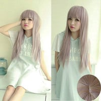 Fashion Long Fluffy Straight Wig Women Harajuku Anime Style Cosplay Full Wig
