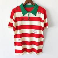 GUCCI Summer Newest Women Casual Stripe Short Sleeve Lapel Knit Top T-Shirt Red