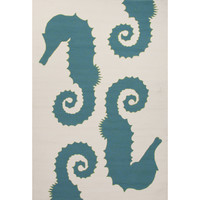 Jaipur Rugs IndoorOutdoor Conversational Pattern Blue/Ivory Polypropylene Area Rug GD33 (Rectangle)