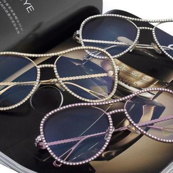Rhinestone Chic Retro Aviator Sunglasses