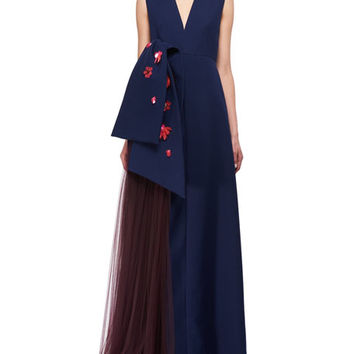 Delpozo Floral-Embellished Sleeveless V-Neck Gown, Blue