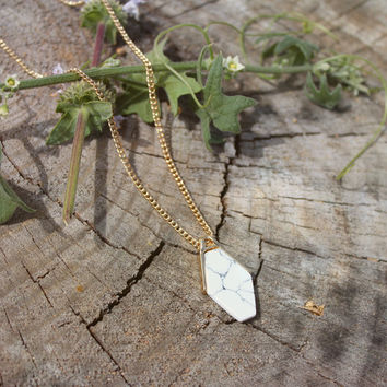 Geometric Marble Quartz + Gold Geometric Necklace // Geometric Bohemian Minimal Necklace // Tribal Gypsy Jewelry - Boho Necklace