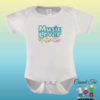 Music Lover EMBROIDERED Baby Girl Baby Boy Bodysuit or Toddler Tshirt