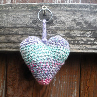 Crochet Heart Plush Keychain in spring pastels, ready to ship.