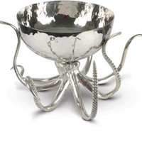 Octopus Pewter and Steel Ice Tub/Punchbowl
