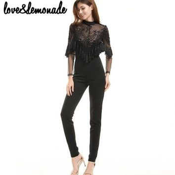 DKLW8 Love&Lemonade Lace Sequined Tassels Jumpsuits Black  TB 9692