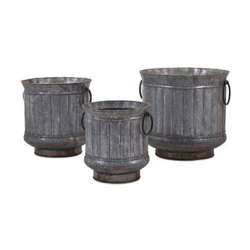 Griffin Galvanized Planters with Brass Edging - Set of 3