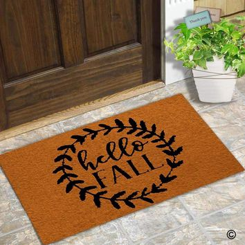 """Autumn Fall welcome door mat doormat  Entrance Floor Mat Funny  Hello Fall Non-slip  Machine Washable Non-woven Fabric Top 23.6""""X15.7"""" AT_76_7"""