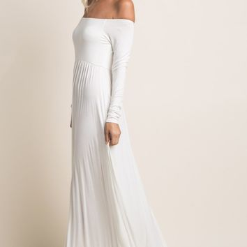 Ivory-Solid-Off-Shoulder-Maxi-Dress