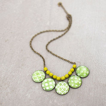 Pattern Necklace,  Forest Green, Statement Necklace, Modern Geometric Beaded Bib Necklace