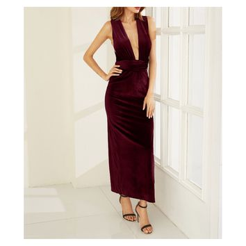 Burgundy Red Side Slit Convertible Maxi Velvet Dress