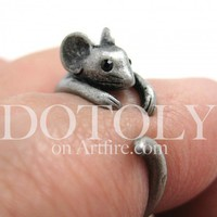 Miniature Mouse Ring in Silver - Sizes 4 to 9 Available | dotoly - Jewelry on ArtFire