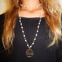 Gold and Pearl Bead Chain Layered Necklace with Tree of Life Pendant