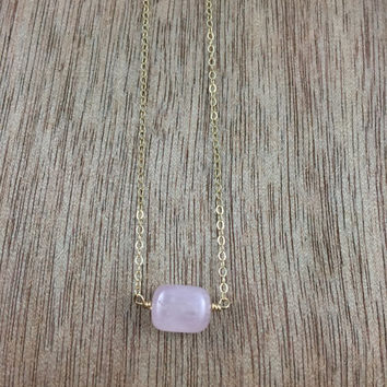 14k gold filled pink Rose Quartz crystal cube necklace / bridesmaid necklace / minimalist necklace / dainty necklace / January birthstone