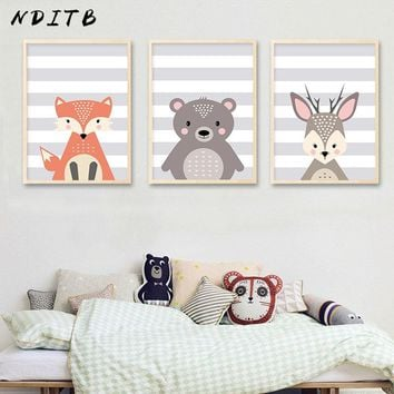 NDITB Woodland Animal Fox Deer Canvas Posters Wall Art Nursery Prints Cartoon Painting Nordic Kids Baby Bedroom Decoration