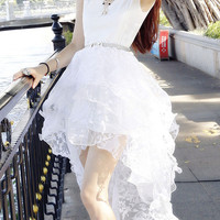 White Lace Sleeveless Ruffled Layer Swallow-tailed Mini Dress