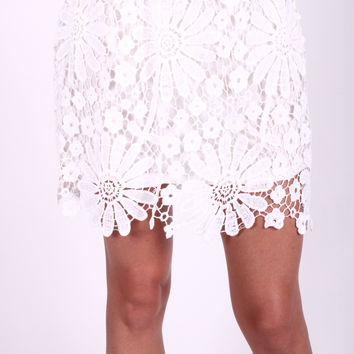 The Summertime Lace Skirt- White