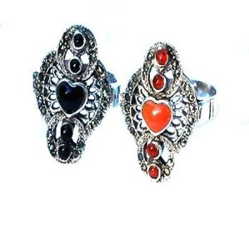 Sterling Silver Genuine 24 Marcasite and Stone Heart Ring