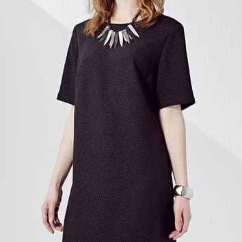 Black Short Sleeve Straight Dress