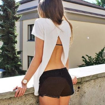 Summer Backless Short Sleeve Cotton Round-neck Sexy Slim T-shirts [11028616724]