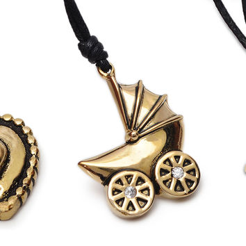 Pacifier Baby Toy Handmade Brass Necklace Pendant Jewelry