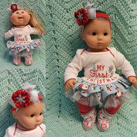 "15 inch Baby Doll ""My First Christmas"" doll outfit Will fit Bitty Baby® Bitty Twins®  dress leggings socks headband A12"