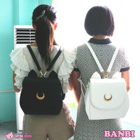 Cute Large Sailor Moon Samantha Vega Luna Backpack Black White Cat Luna Moon Women Bag Leather School Bag metal moon