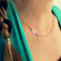 Rose Gold Initial Necklace Sideways Initial Necklace Personalized Necklace Bridesmaid Jewelry Mothers Necklace Rose gold Sterling Silver