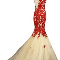 Sunvary Champagne and Red Mermaid Lace Prom Dresses for Evening Formal Gowns Long - US Size 8- Champagne and Red
