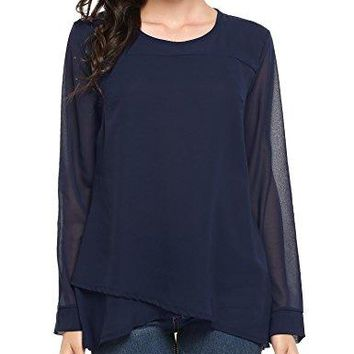 Zeagoo Women Casual Round Neck Sheer Long Sleeve Layered Chiffon Shirt Blouses