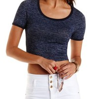 Cropped Marled Ringer Tee by Charlotte Russe