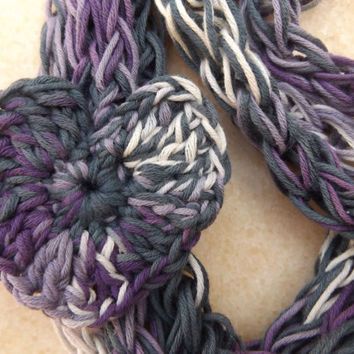 Yarn Necklace, Purple Grey, Skinny Scarves, Scarf Necklaces, Spring Necklaces, Summer Necklaces, Yarn Necklace, Statement Summer Necklace