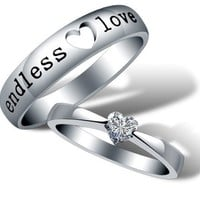 Dear Deer White Gold Plated Endless Love Couple Style Band Ring (Choice of Men's OR Women's)