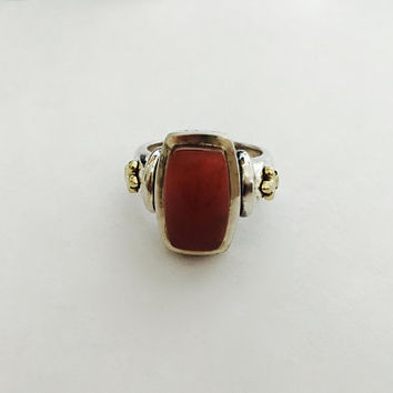 Vintage Ann King Signed 925 Sterling Silver Carnelian Ring with Fleur De Lis 18k Gold Side Accents