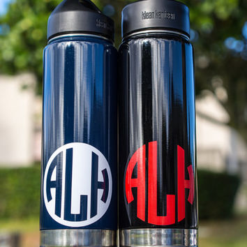 "3"" Monogram Vinyl Decal Personalized Monogram Round Set of 2 for CamelBak Water Bottles Cars Books Mirrors Scales More + Free USA Shipping"