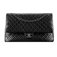 Braun Chanel Black Leather chain bag